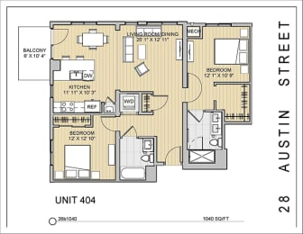 2 Bed 2 Bath 28b1040 Floor Plan at 28 Austin St, Newton, Massachusetts